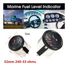 52mm Boat Fuel Level Gauge Marine Yacht Trim Tank Indicator 12/24V 240-33 Ohms