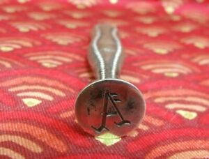 """Antique Sterling Silver Letter """"A"""" Sealing Wax Stamp Seal"""