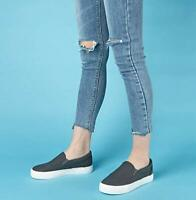 Women's BLACK Sneaker Perforated Slip on Flats Comfortabl Walking Casual Shoes