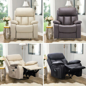 Luxury PU Leather Cinema Electric Massage Recliner Sofa Chair Lounge Armchair UK