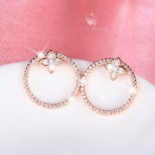18k gold gf made with SWAROVSKI CZ crystal circle earrings chic ear jacket stud