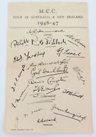 .1946-47 M.C.C. ASHES TOUR OF AUSTRALIA & NEW ZEALAND TEAM SHEET.