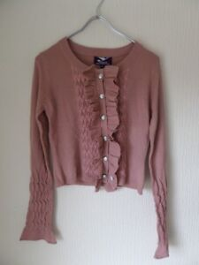 Y London Y337 Ladies Pink Button Down Knit Ruffle Cardigan Sweater Size S/8