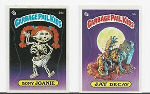 Garbage Pail Kids 1985 Series 1 Jay Decay 5b & Bony Joanie 29a checklist