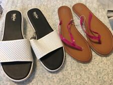 66c589461 Lot of 2 pairs womens sandals Mossimo white slides pink flip flops Size 11  New