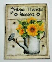 Fridge Magnet Grateful Thankful Blessed Sunflowers Watering Can Collectible