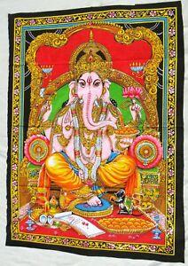 Ganesha Tenture indienne Paillettes Batik Hindou Inde Ganesh Coton Fait main T