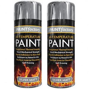 2 x High Temperature Heat Resistant Spray Paint Silver Matt Stove Exhaust 300ml