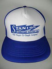 Vtg 1980s STANION WHOLESALE ELECTRIC BLUE WHITE KANSAS Advertising SNAPBACK HAT