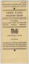 HAPAG NORTH GERMAN LLOYD North Atlantic Service * Third Class Tariff List 1937