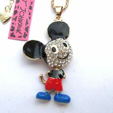 Betsey Johnson crystal multicolor enamel Cartoon mouse pendant Necklace#298L