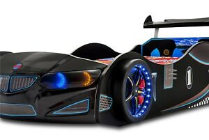 Children's Car Beds With LED Headlights/Wheelights GT1F/BMW and Sounds In Black