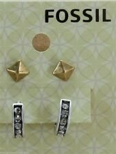 Fossil Set Of 2 Earrings Multi Tone Huggy Hoops Pyramid Studs New!
