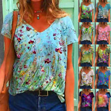 Summer Women Floral Printing Blouse Short Sleeve V Neck T Shirt Casual Loose Top