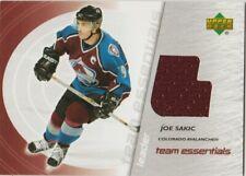 JOE SAKIC 03-04 UPPER DECK GAME USED JERSEY CARD # TL-JS TEAM ESSENTIALS 2003-04