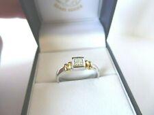 18ct 18carat White & Yellow Gold Princess Cut Diamond Solitaire Ring, Size O 1/2
