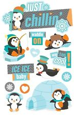 Penguins Just Chillin' Igloos Snowflakes Ice Ice Baby Paper House 3D Stickers