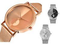 ASAMO Modische Damen und Herren mit Armbanduhr Metall Armband Analog Uhr AMA089