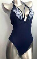 NWT Victorias Secret PINK Blue Applique Strappy Plunge One Piece Swim Suit M