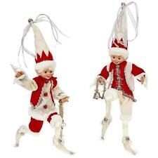 "NEW Raz 16"" Silver Cream & Red Posable Elf Christmas Figure Decoration 3802260"