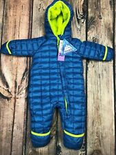Snozu Snowsuit Winter Coat Hooded Plush Blue Lime Green Infant Boys 3/6 mo