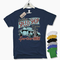 T-Shirt - SPEED SHOP - Hot Rod Muscle Car V8 Old school Retro Size S M L XL XXL