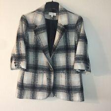 Anthropologie Third Piece Women's Jacket Size 12 Beige Black Wool Blend Plaid