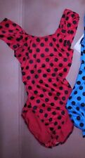 NWT ruched strap Leotard Lowback Dotted 2 colors ch/ladies frontlined flamenco
