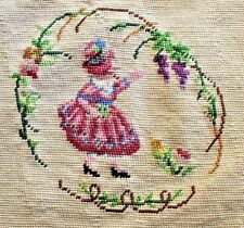 Vintage Little Girl in a Pink Dress Hand Made Needlepoint Completed Unframed