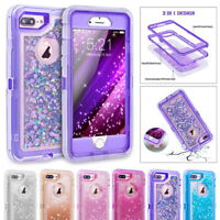 3D Glitter Bling Liquid Transparent Shockproof TPU Hybrid Case Cover For iPhone