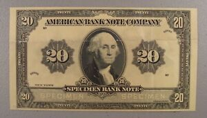 Scarce Undated American Bank Note Company 20 Unit Specimen Note VF Repairs