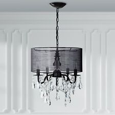 5-Light Black Crystal Chandelier with Drum Shade, Plug In Lighting Fixture Lamp
