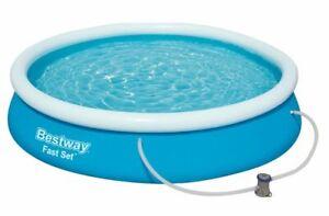Bestway 57274 Fast Set Pool Blau Rund mit Filterpumpe Swimming Pool 366x76 cm