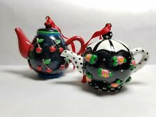 Mary Engelbreit Miniature Teapot Ornaments Cherry Rose Lot Of 2
