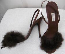 Dune chocolate fur frim Diamante detail Leather Sandals size 39