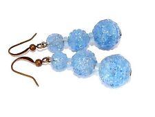 Art Deco Vintage Azul Cielo Pendientes de Perla de vidrio prensado para que coincida con collares 1930s