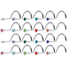Nose Piercing Screws with CZ Gems 18ga 20 pack