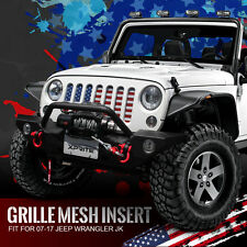 Front Steel Mesh Grille Insert with USA Flag 2007-2017 Jeep JK Wrangler