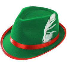 Adult DELUXE BAVARIAN Oktoberfest Hat Green Red Feather Fancy Dress AC-9163