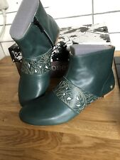 New Neosens Green Leather Boots   Size 4 Eur 37 Rrp £110