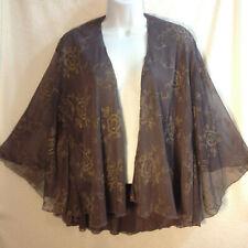 Women Vtg Sheer Layered Chiffon Jacket Blouse Purple/Gold Embroidery M/ L Mother