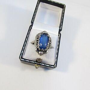 Vintage Silvertone Filigree & Blue Glass Centre Ring