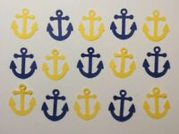 """Nautical Anchors Confetti Lot of 150 Die Cuts in Navy Blue & Yellow 1"""" H"""