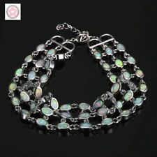 Stunning Sterling Silver Dipped Round White Fire Opal Triple Layer Bracelet
