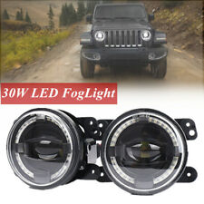 "4"" 30W LED Round Foglight White Angel Eyes Halo Ring Lamp Fits JEEP Wrangler JK"