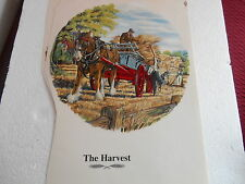 """1990s  8""""  SMOOTH SURFACE TRANSFER OF SHIRE HORSE & HARVEST CART  SIGNED"""