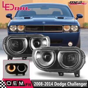 Fit For 2008-2014 Dodge Challenger w/DRL LED Projector Headlights Pair Set