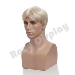 Male Fiberglass Mannequin Head Bust Wig Hat Jewelry Display #MZ-H2