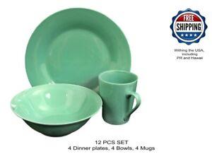 Gibson Home Carlton 12-Piece Teal Dinnerware Set Ceramic Microwave Safe
