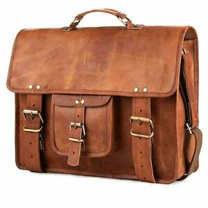 """Men's 15"""" Genuine Vintage Brown Leather Messenger Shoulder Laptop Bag Briefcase"""